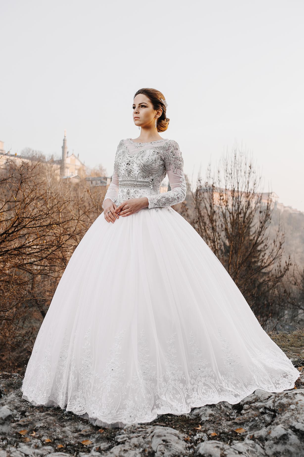 Rochie De Mireasă Rafinată Cu Ornamente De Argint și Dantelă Album